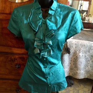 Talbots silk blend ruffled teal blouse